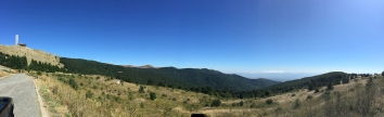 Pano from Buzludzha Peak looking at Buzludzha monument and the Balkan mountain range